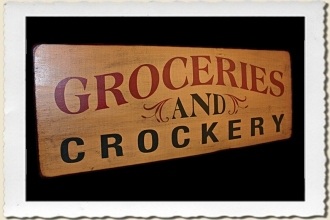 Groceries & Crockery Sign Stencil