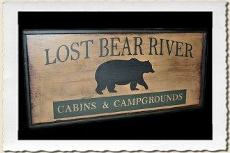 Lost Bear River Sign Stencil by Primitive Designs Stencil Co.